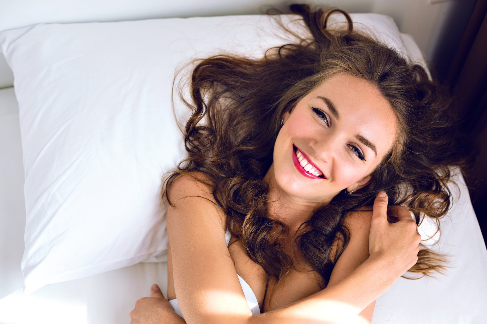 Morning sensual sexy portrait of stunning young woman